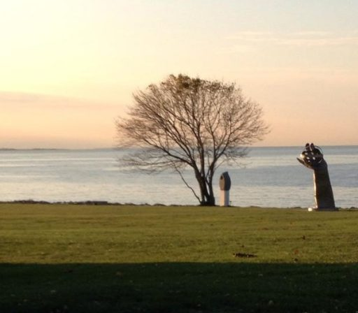 a photo taken from the Avery point campus at sunrise, overlooking the L.I.Sound